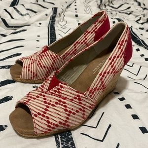 Red Toms Wedges with cork heel
